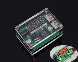 DC-DC Double USB Digital Display Step Down Module Buck Converter 9V/12V/24V/36V to 5V 3A Power Supply Module