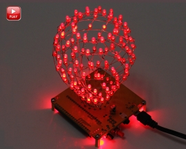 Red Flashing DIY LED Cube Ball Light Spherical Lamp Electronic Kit with Remote Control for Home Decoration