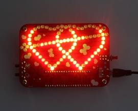 DIY Colorful RGB LED Double Heart-shaped Flashing Light Lamp with Music DIY Module Electronic Kits for Love Gift