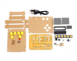 DIY Kit Game Toy Creative Electronics Experiment Kit MCU Computer Game Machine with Protective Shell for Tetris/Snake/Plane/Racing