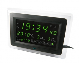 ECL-1227 Green LED Digital Display Date Temperature Display DIY Electronic Clock Electric Calendar Alarm DIY Kit with Shell