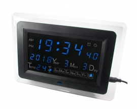 ECL-1227 Blue LED Digital Display Date Temperature Display DIY Electronic Clock Electric Calendar Alarm DIY Kit with Shell