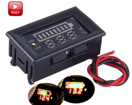 Red Display Lithium Battery Capacity Indicator Voltmeter ON/OFF Controller Voltage Tester 12.6V for 12V Lead-acid Battery or 4pcs 3.7V 4.2V Lithium Batteries