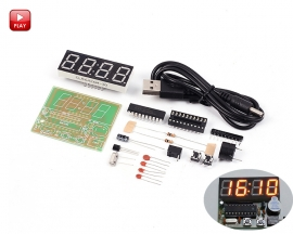 DIY 4 Bits C51 Digital Electronic Clock Red LED STC11F02E Chip DIY Kits Soldering Practice Electronic Learning Suite DIY Module
