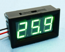 Green LED Panel Meter Digital Voltmeter DC 3.2-30V with Box