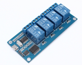 ICStation MICRO USB 5V 4-Channel Relay Module USB Control Relay Module ICSE012A