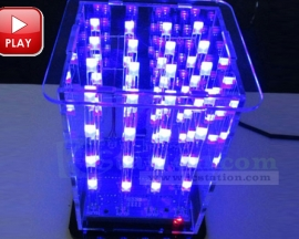 3D LightSquared DIY Kit 4x4x4 2*5*7MM LED Cube White LED Blue Ray