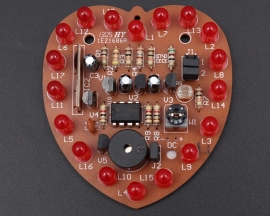 DIY Kit Red Heart-Shaped LED light Control Music Flash Light
