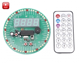 60S Rotary Electronic Clock DIY Kit 4 Digits Digital Clock Colorful Flashing LED Light DIY Kits with Remote Control