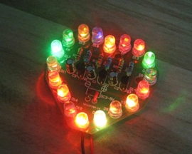 XSD-18 DIY Kit Colorful RGB Heart-Shaped Birthday Gift 18pcs LED