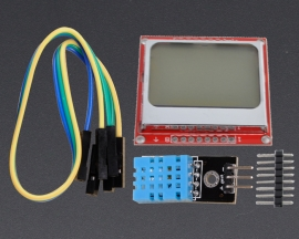 [A127]DHT11 Temp/Humidity Sensor Module Blue Nokia LCD 5110 84*48 Display