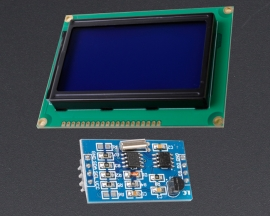 [A128]DS1307 DS18B20 RTC Temp Sensor Module 5V Blue LCD12864 Display