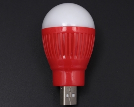 White Light Red Shell 1W USB LED Lamp for Mobile Power Charger