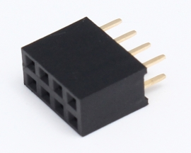 Black 2x4Pin 2x4P Female Pin 2.54mm Socket Connector
