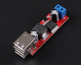 Dual USB Output 9V/12V/24V/36V to 5V DC-DC 3A Step Down Power Module