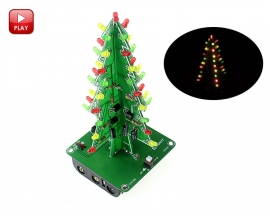 DIY Kit 3D Christmas Tree Kit with 3 Colors Red/Green/Blue Flashing LED for Electronics Soldering Practice Fun Gift DC 5V