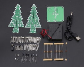 DIY 7 Colors 3D Xmas Tree Kit RGB Flashing LED Circuit Kit Colorful Christmas Tree Kit for Solder Practice for Christmas Eve Gift