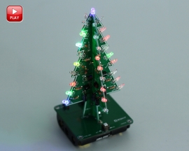 DIY 3D Xmas Tree Kit RGB Flashing LED Circuit Kit Colorful Christmas Tree Kit for Solder Practice Holiday Toy Gift