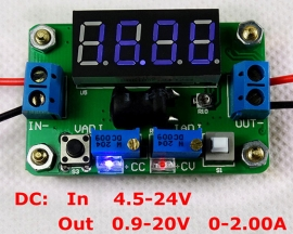 DC-DC Blue 4.5-24V Constant Voltage And Current Buck Converter Voltmeter Step Down