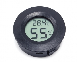 D45.2mm DC 1.5V Black Embedded Round Probe Temperature   Humidity Meter LCD Thermo Hygrometer