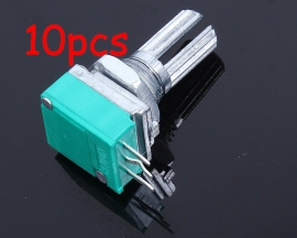 10pcs Sound Amplifier Potentiometer 3-Pin Single Connection Handle Length 15mm