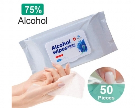 50PCS/Pack 75% Alcohol Wet Wipes Personal Cleaning Sterilization Wipes 75% Alcohol Disinfection Wipes