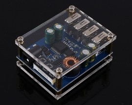 4-Channel USB LED Digital Display Buck Converter 4USB DC-DC Step Down Power Supply Module 5V 5A
