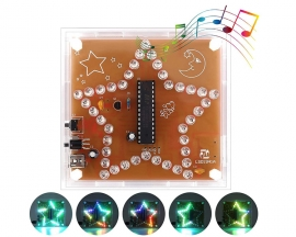 DIY Kit RGB LED Pentagram Flashing Light WAV Music Player Colorful Five-Pointed Star Soldering Practice Kit