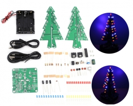DIY Kit Red Yellow Blue Flash LED Sound Control Christmas Tree LED Kit Audio Flashing Light Soldering Training Kit