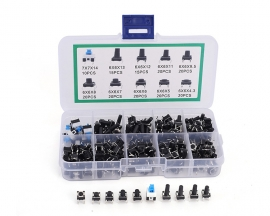 180pcs 10 Values 6*6mm Tact Switch Push Button Self-locking Switch Kits Component Kit