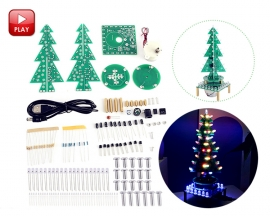 Auto-Rotate Flash RGB LED Music Christmas Trees Kit Flashing Breathing Light Soldering Practice Tranining DIY Kit