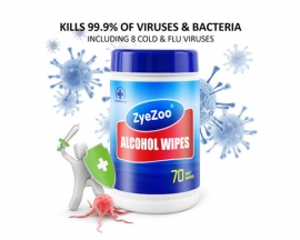 70 Sheet ZyeZoo Disposable Alcohol Wipe Portable 75% Alcohol Cleaning Wipes Hands Wet Wipes