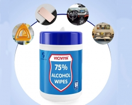 (US Warehouse) 60PCS/Pack Viciviya Disinfectant Wipes Portable 75% Alcohol Wet Wipes Antiseptic Cleaning Sterilization Wipes for Family Cars Tourism Hotel Restaurant