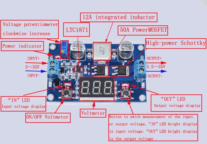 DC-DC Boost Adjustable Step Up Converter Module Voltage LED Voltmeter Display