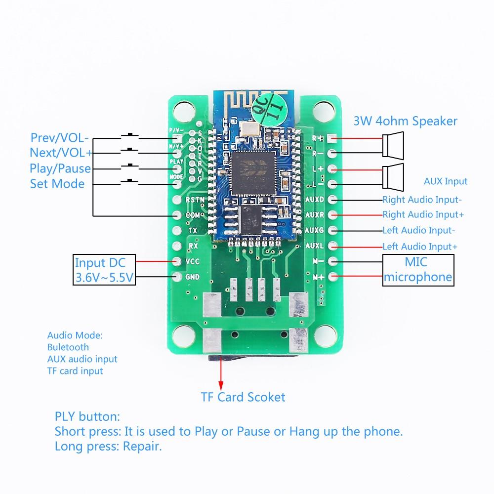 DC 6V-45V Bluetooth power amplifier board 3W+3W stereo audio AMP module