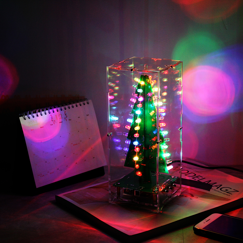 Diy Kit Rgb Flashing Led Circuit Colorful 3d Christmas Trees Mp3 Shaped Flash Light Lamp Electronic Board Production Suite Finished Product Picture