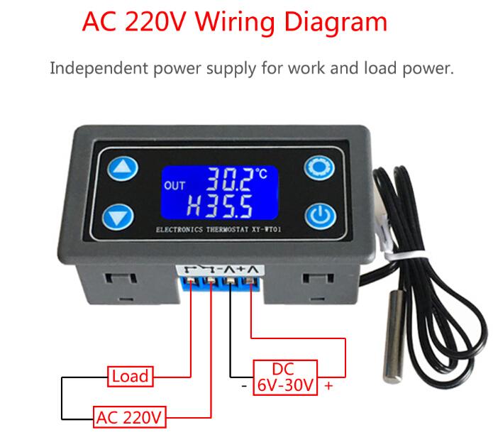 Thermostat Digital Temperature Controller LCD Display NTC 10K B3950 Sensor  Relay Module | Adjustable Temp Control Relay Wiring Diagrams |  | ICStation