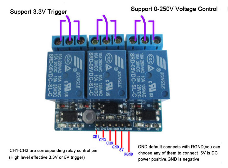 3 Channel DC 3 3V 5V Relay Module Relay Expansion Board with