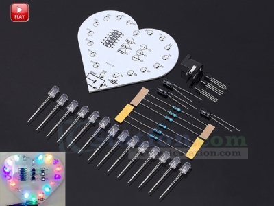 Colorful Flashing LED Flash Light Kit LED Lamp Love Heart Shaped Electronic DIY Kit Module