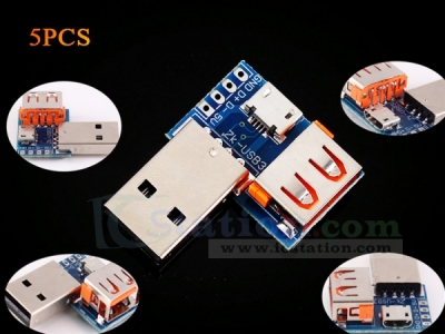 5PCS USB Converter Standard USB Female to Male to Micro USB to 4P Terminal