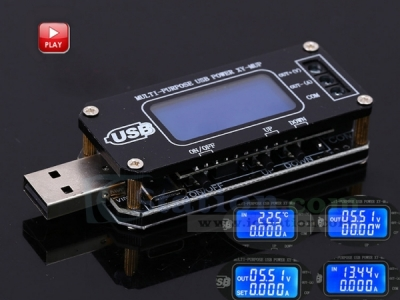 XY-MUP DC-DC USB Step UP/Down Power Supply Module LCD Temperature Display Adjustable Boost Buck Converter Voltmeter Ammeter Battery Capacity Tester with Shell Button Control