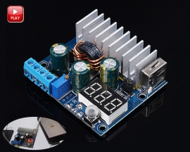 100W DC-DC Step Up Module Boost Converter Voltage Regulator Power Supply Module 3-32V to 3-35V USB Output with LED Voltmeter Display