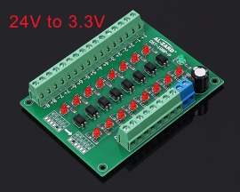 24V to 3.3V 8-Channel Photoelectric Isolation Module Level Voltage Converter PNP Output PLC Signal Module