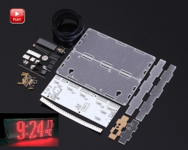 DIY Kit Red LED Dot Matrix Clock SMD Kit Parts C51MCU Temperature Control Module with Acrylic Shell
