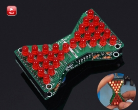 DIY Kit Red LED Electronic Hourglass Shaped Flashing Light DC 3.3V-5V Funny Electronic Soldering Kits