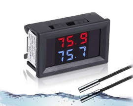 DC 4-28V Red+Blue Fahrenheit Dual Display Digital Thermometer with 2 NTC Waterproof Metal Probes Temperature Sensor