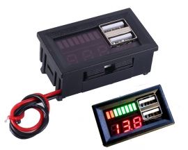 Lithium Battery Capacity Indicator Voltmeter Voltage Tester 5V 2A Dual USB Output 12.6V for 3pcs 3.7V 4.2V Lithium Batteries