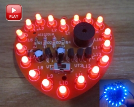 DIY Kit 18 LEDs Heart-Shaped Red Green Dual-Color Happy Birthday Music Gift Kits