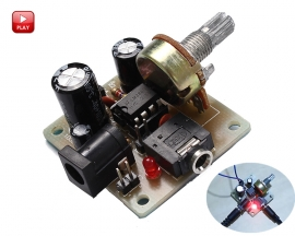 ICStation ICSK025A DIY Kit Mini Power Amplifier LM386 Audio Amplifier Board Module DIY Kits DC 5V-12V