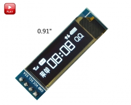 "White 0.91"" OLED Display Module 0.91 inch I2C IIC Interface 3.3-5V 128x32 OLED LCD LED Screen Module SSD1306 for Arduino"